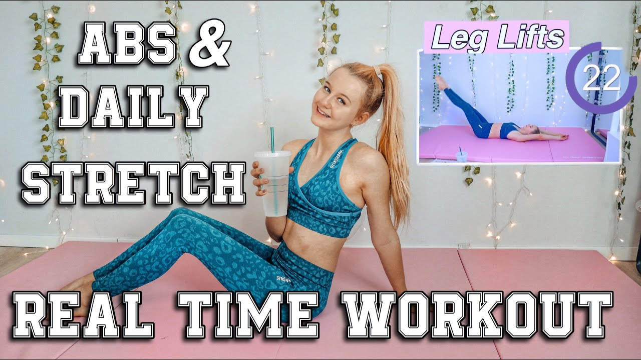 REAL-TIME WORKOUT ROUTINE ABS & DAILY STRETCHES | MaVie Noelle