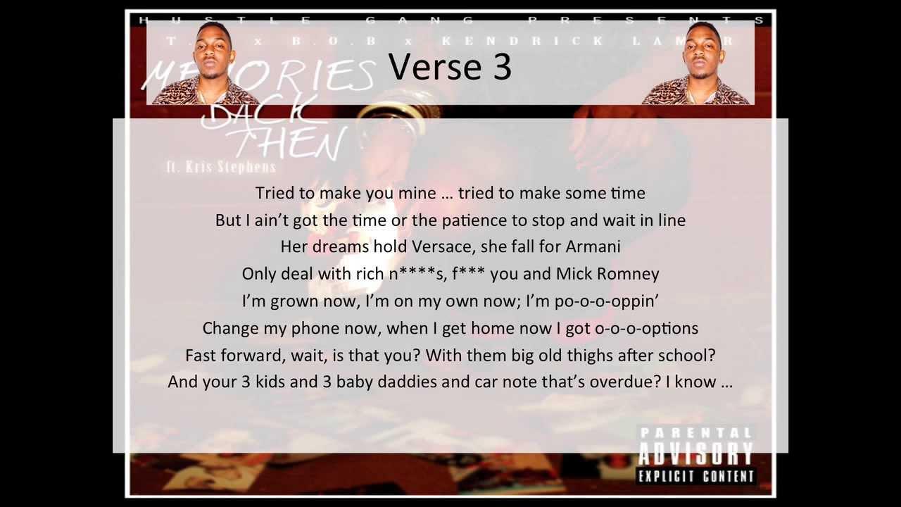 Download T.I. - Memories Back Then (feat. B.o.B, Kendrick Lamar & Kris Stephens) [Clean] - LYRICS