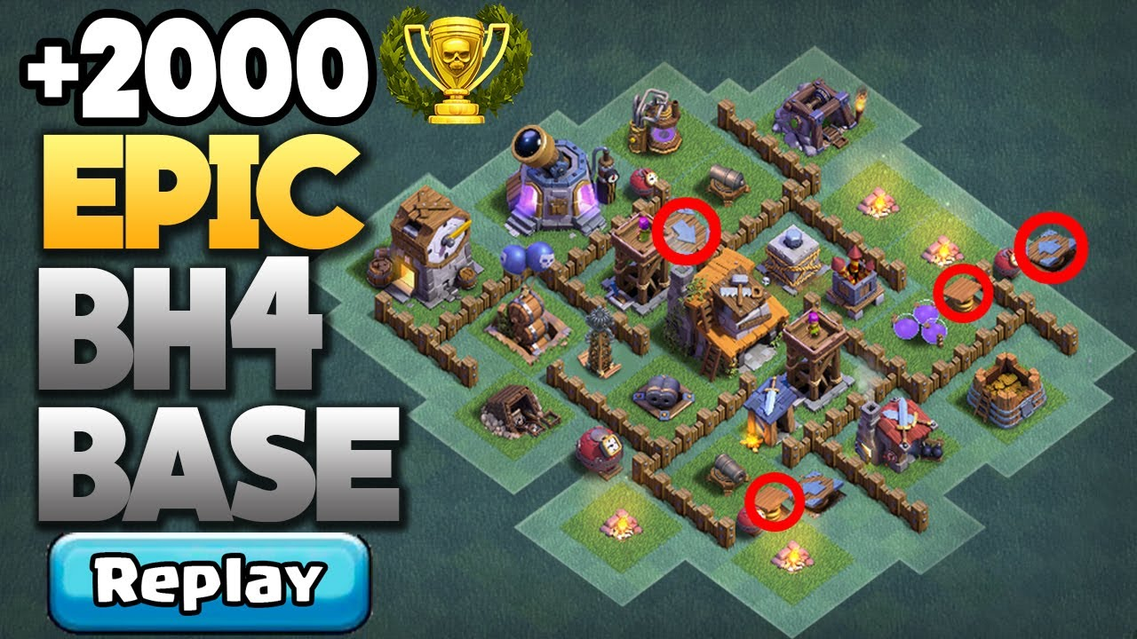 New Best Builder Hall 4 Bh4 Best Base Layout Coc