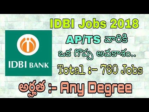 idbi bank executive jobs 2018 any degree jobs in ap ts telangana jobs andhra pradesh jobs