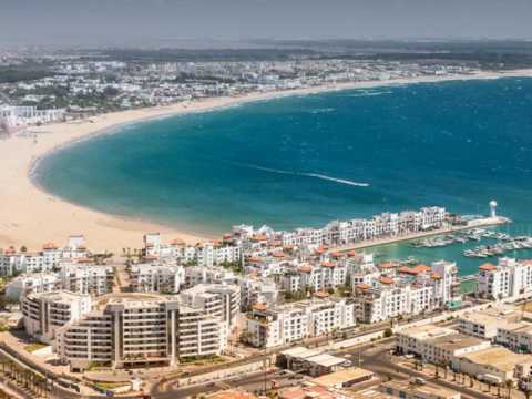 Agadir , major coastal city in Morocco, Atlantic Ocean shore, Sous River, Atlas mountains