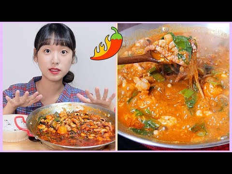Spicy nakkobsae with rice real sound mukbang! Octopus x Beef tripe x shrimp 🐙 ILULIY