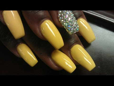 SEXY HOT YELLOW COFFIN BALLERINA ACRYLIC NAILS