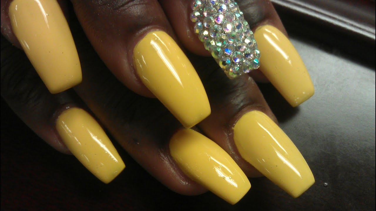 Y Hot Yellow Coffin Ballerina Acrylic Nails