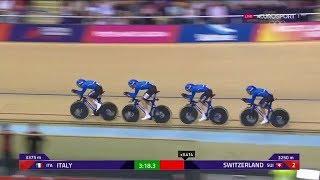 Europei Ciclismo su pista Italia Quartetto d'oro nell'inseguimento maschile a squadre 03-08-2018