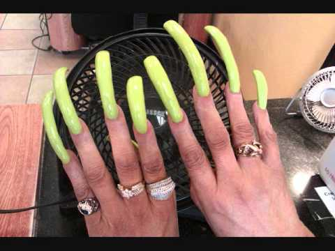 Super Long Acrylic Nails - Looks Amazing!! - YouTube