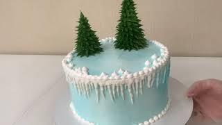 Как Украсить торт на НОВЫЙ ГОД Елочки из Белкового крема Снеговик из Глазури Красивый торт