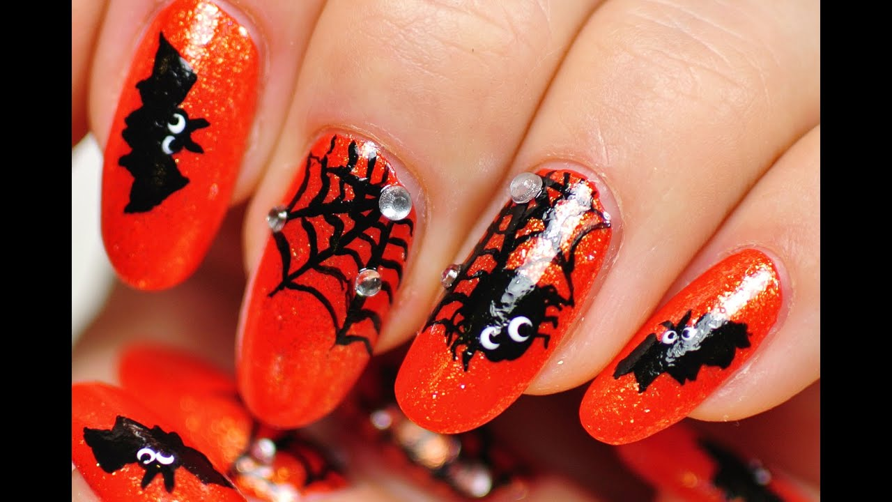 Nail Art. Halloween Design. Web, Spider, Bat. - YouTube