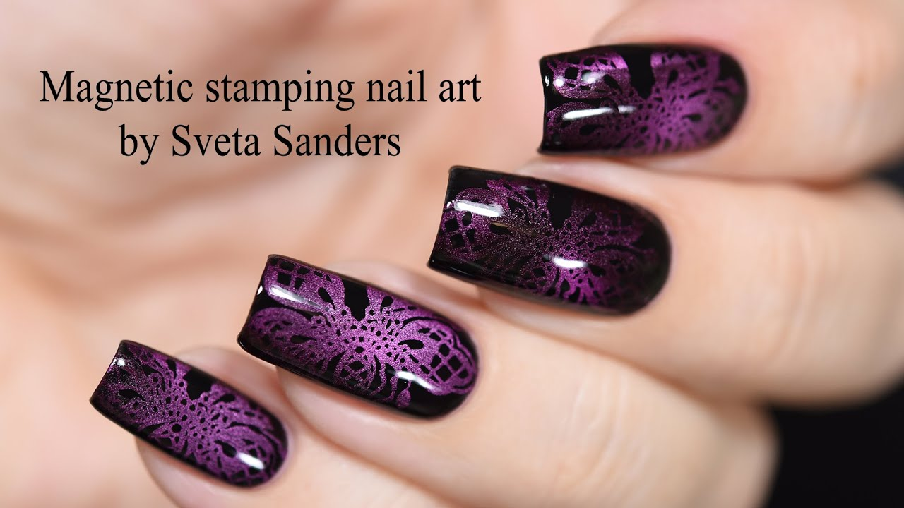 Magnetic Stamping Nail Art Tutorial Youtube