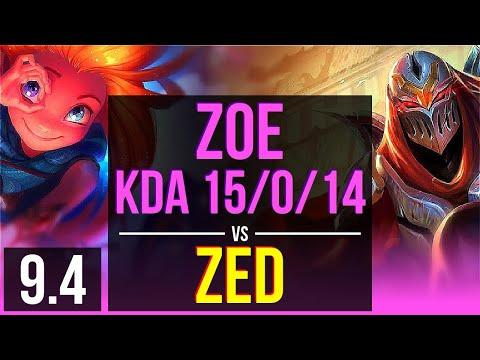 ZOE Vs ZED (MID) | KDA 15/0/14, Legendary | Korea Master | V9.4