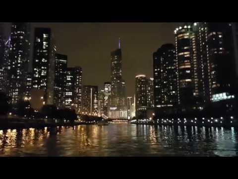 Chicago At Night. Illinois River View. Architectural River Tour