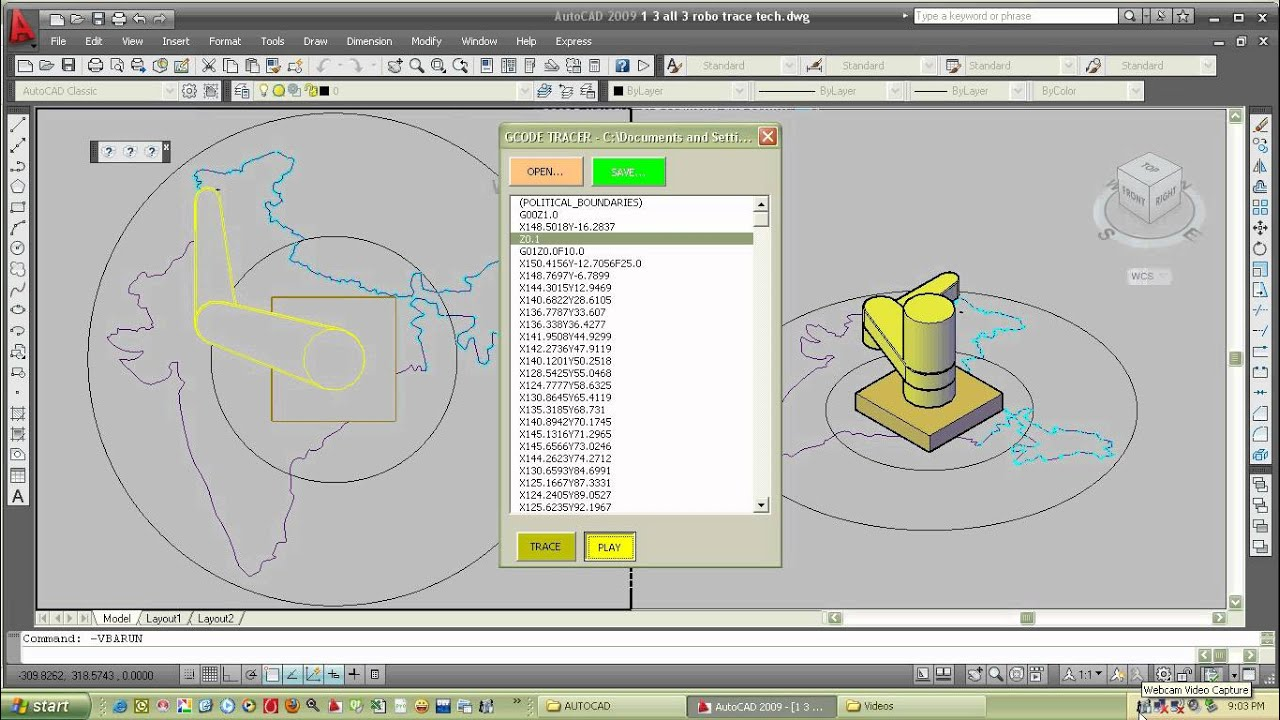CNC G-CODE TRACER ROBOT IN AUTOCAD