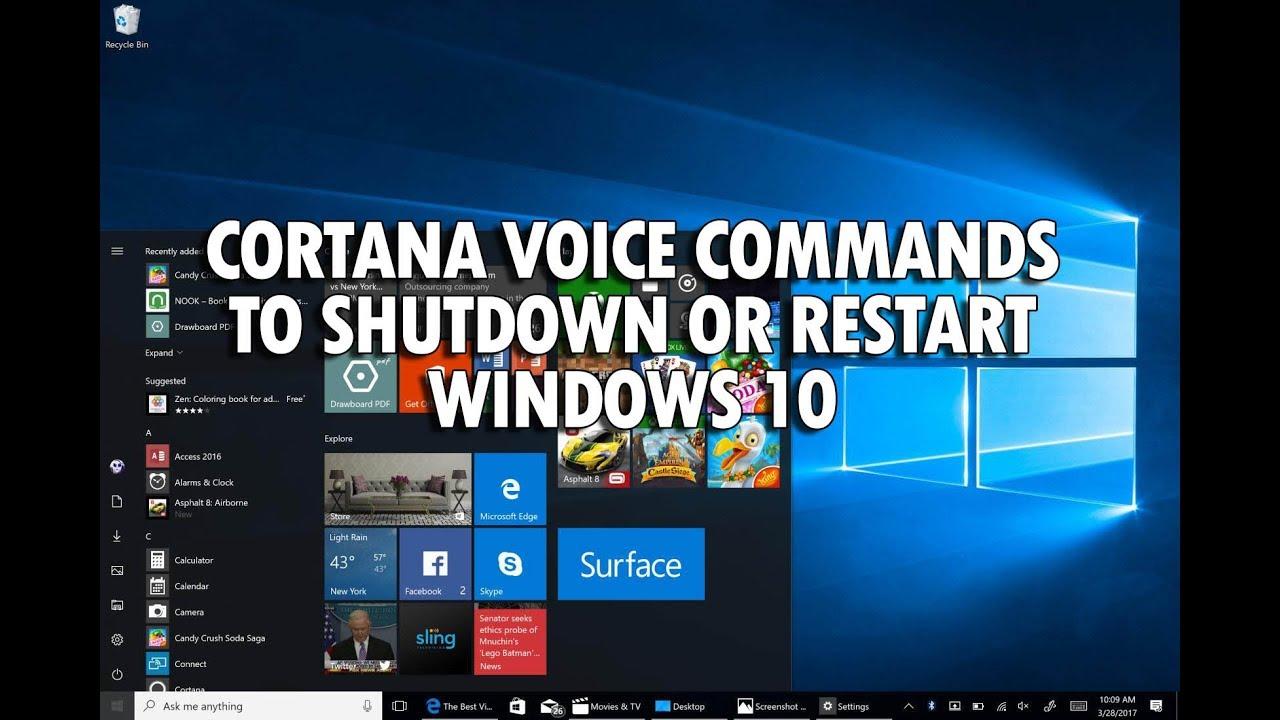 How to Shutdown or Restart Windows 10 using Cortana Voice Command