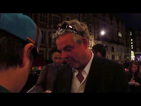 Anjelica Huston (of The Addams Family) and Danny Huston meet fans outside Claridges in London 2015