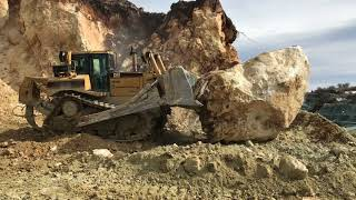 Cat D8T Bulldozer Pushing Huge Stone - Labrianidis S.A