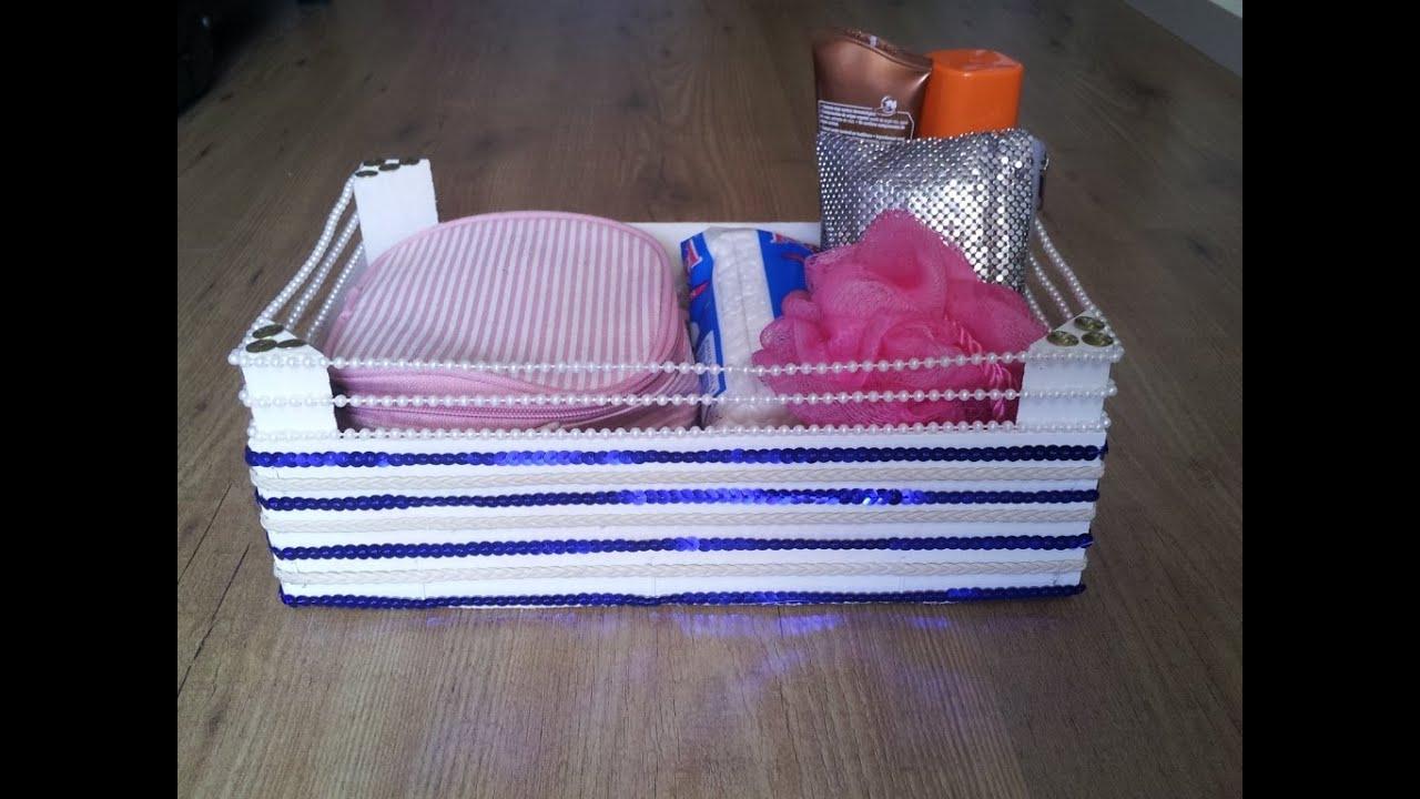 Reciclar caja y hacer un organizador de cosm ticos - Manualidades con cajas de madera ...