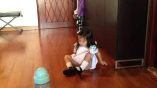 Toddler Lauren gets herself ready for school