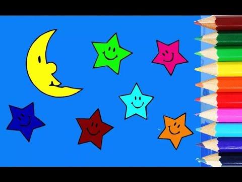 Belajar Mewarnai Bulan Dan Bintang Di Langit Bermain Dan Belajar