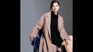 Зимняя мода ручной работы двусторонний кашемировый шерстяной тренч в елочку женская длинная
