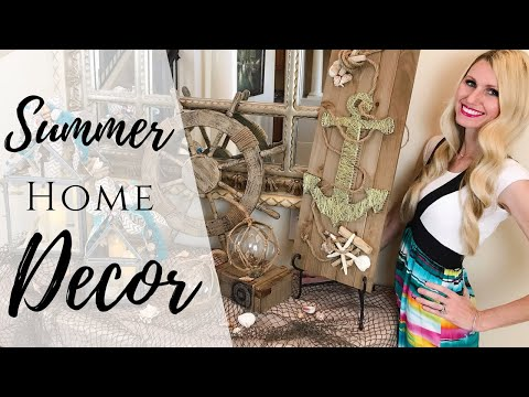 SUMMER HOME DECOR | COASTAL & BEACH STYLE HOME DECORATING IDEAS | SUMMER LANTERNS, BEACH STRING ART