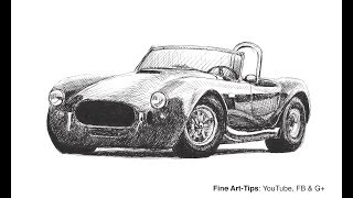 Drawing a Shelby Cobra With Fountain Pen - Time Lapse