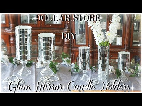 DIY DOLLAR STORE | GLAM MIRROR CANDLE HOLDERS | DIY BLING ROOM DECOR | DOLLAR STORE DIY HOME DECOR