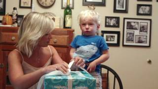 Toddler Unboxing Pampers Easy Ups