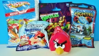 5 Surprises Opening Angry Birds Mash'ems & Collection Head, TMNT, Star Wars, Hot Wheels