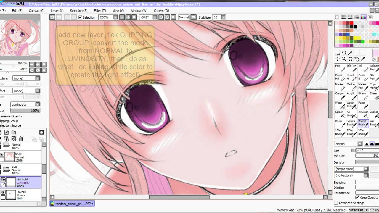 Tutorial on how to color eye in sai paint tool using mouse youtube