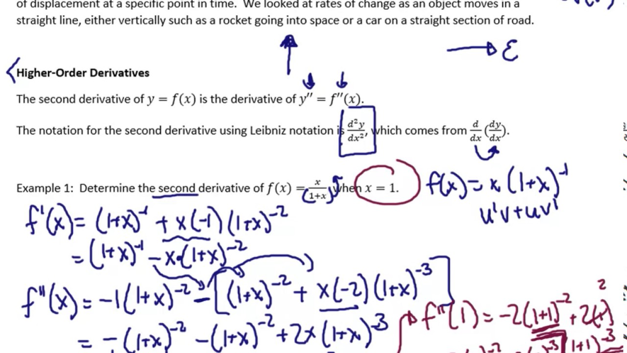 3 1 higher order derivatives velocity and acceleration relationship