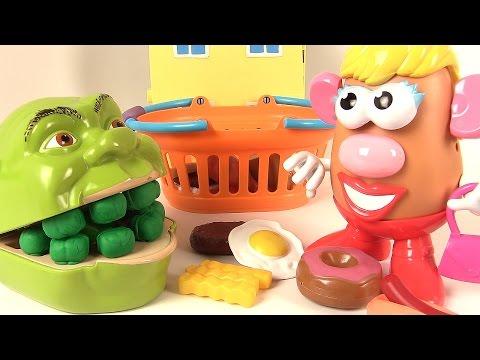 Shrek et Madame Patate Shrek mange du steak et des frites Histoires de Jouets