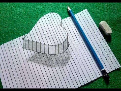 Cara menggambar hati 3D dengan mudah
