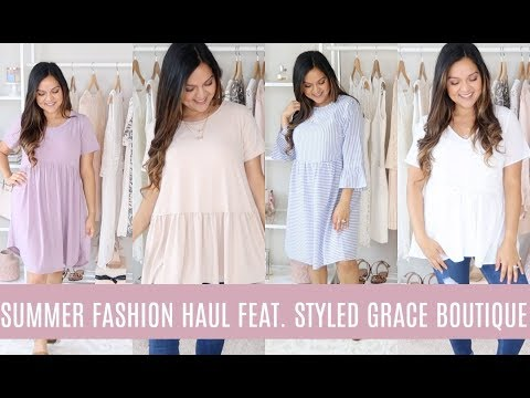 HUGE SUMMER CLOTHING HAUL!  TRY ON! SUMMER OUTFIT IDEAS! FEAT. STYLED GRACE BOUTIQUE! 9