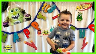 Monster Nerf Birthday Party! Pretend Monster Hunt! Monster Cake & Monster Toys! Dream Team!