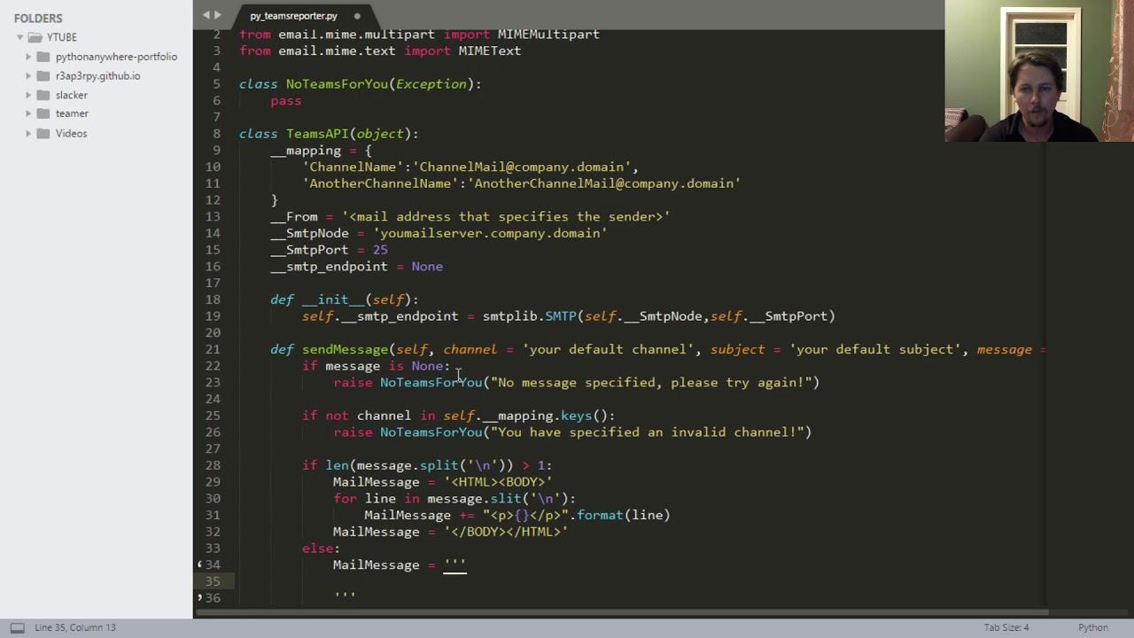 Python - Microsoft Teams API intro, and status reporting
