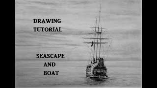 How to Draw a Simple Seascape and Boat With graphite Pencils
