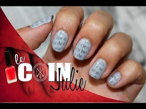 nail art motif papier journal pour la rentr e newspaper nails lecoindejulie youtube. Black Bedroom Furniture Sets. Home Design Ideas