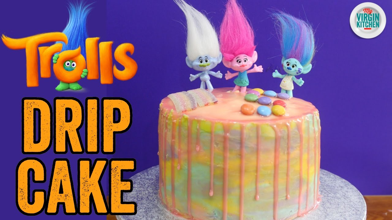 Trolls Rainbow Drip Cake Recipe Youtube