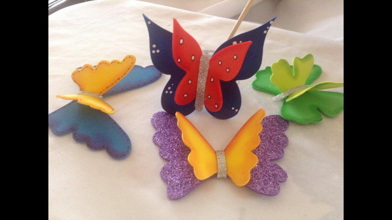Mariposas tridimensionales en goma eva youtube - Como hacer mariposas de goma eva ...