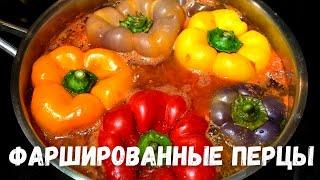 Фаршированные перцы с фаршем и рисом,  в подливе из помидор. Рецепты с болгарским перцем.