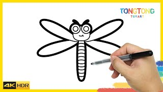 How to Draw a Boy Dragonfly Coloring Pages for Kids Easy