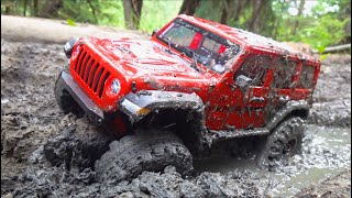 JLU STUCK in THICK MUD! 2020 AXIAL SCX10 3 PORTAL & DIG 4x4 Trail Ready JEEP - RTR | RC ADVENTURES