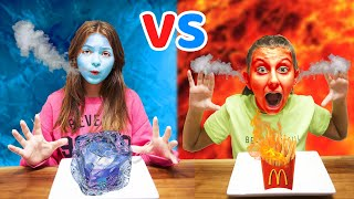 HOT vs COLD Food Challenge! GIRL ON FIRE vs ICY GIRL 24 hours