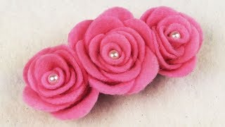 EASY DIY: How To Make Felt Roses NO SEW I DIY DECEMBER EP. 6 I DIY Felt Flower Hairclip