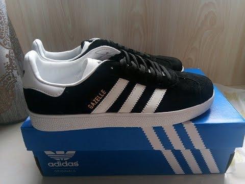589ae9021659 close look  Gazelle black   white dhgate shoes detail - YouTube