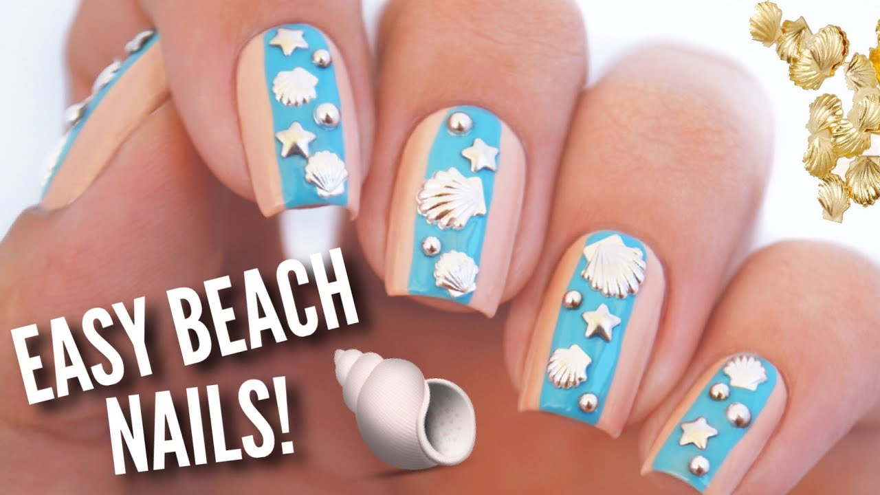 Easy Summer Beach Nail Art Diy Nail Design Using Studs Youtube