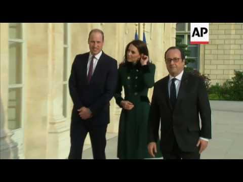 UK Royals leave Elysee Palace in Paris