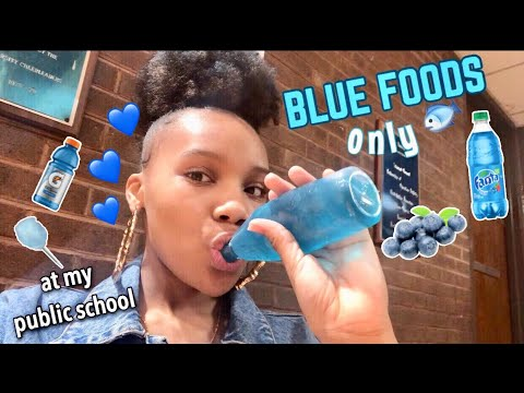 I ONLY ATE BLUE FOODS FOR 24 HOURS CHALLENGE! (at my public school!!)