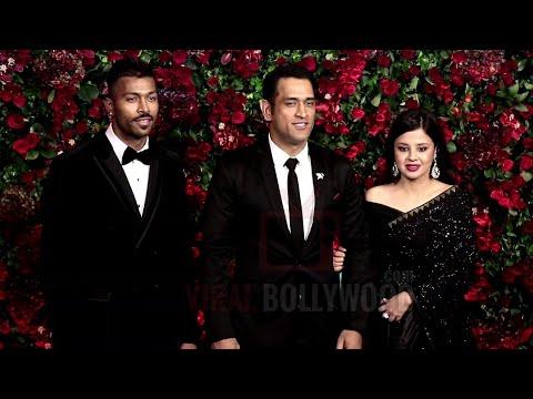 Indian Captain M.S DHONI With Wife Sakshi And Hardik Pandya At Ranveer-Deepika Reception Party