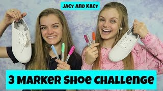 3 Marker Shoe Challenge ~ DIY Fun Shoes ~ Jacy and Kacy